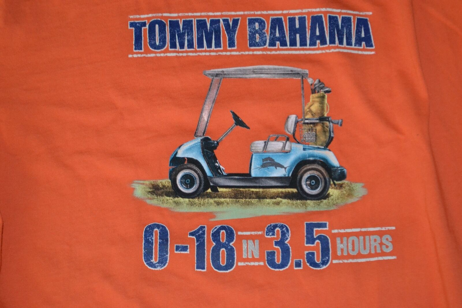 Tommy Bahama 0-18 in 3.5 Hours Golf Orange Shirt Small | eBay on nike golf cart, lacoste golf cart, chanel golf cart, oakley golf cart,