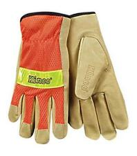 Large Green Safety Cuff KINCO 1919-L Mens High Visibility Unlined Grain Pigskin Gloves