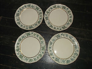 "4 Royal Tettau MANNHEIM Dinner Plates 10 1/2"" Germany US Zone Green Flowers"