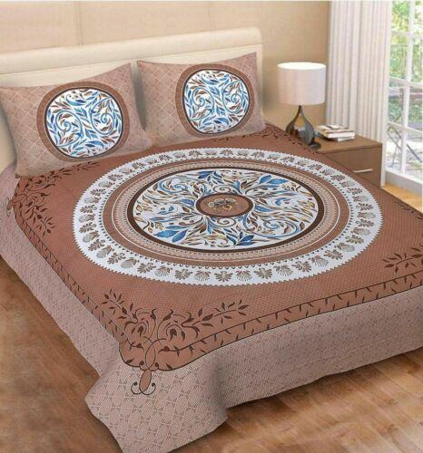 Indian 120TC 100/% Cotton King Size Jaipuri Floral Mandala Print Double Bedsheet