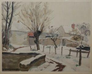 Andre-Deslignieres-1880-1968-Landschaft-Schneebedeckt-Druck-Nievre-Nevers-Val