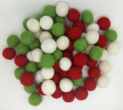 Christmas Garland making Pom Pom Felt Balls Pure wool Nursery Craft Supplies