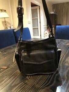 Fossil-TRUE-vintage-Shoulder-Bag-Black-Leather-Top-ZIP-Pockets-NEW-Old-Stock