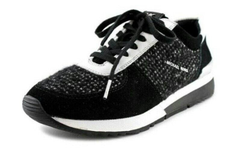 Michael Kors Allie Trainer Tweed Black & White Fashion Sneaker Size 9.5