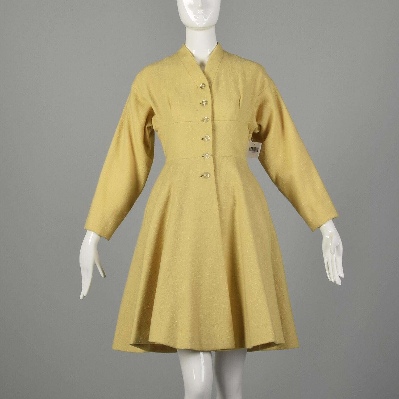 Small 1950s Princess Coat Yellow Wool Spring Rock… - image 1