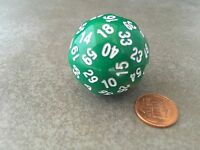Sixty-sided D60 35mm Large Gaming Dice - Green With White Numbers Koplow Rpg D&d