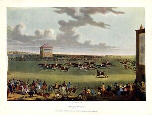 HORSE RACING ON THE GRASS TURF NEWMARKET RACES THE FINISH SPECTATORS COLOR PRINT