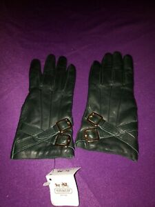 Coach-Gold-Buckle-Leather-Cashmere-Lined-Gloves-Dark-Green-Size-7-5-NWT