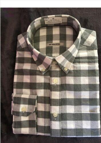 grigio Oxford Check camicia con colletto con bottoni EX Store da uomo 100/% cotone