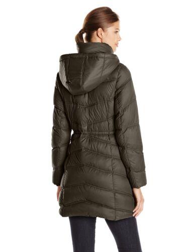 New $280 Ellen Tracy Women/'s Cinch Waist Packable Down Coat M//L//XL 90/% Down