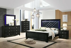 Contemporary Glam 5 Piece Bedroom Set Queen Bed Led Headboard Argyle Pattern Ebay