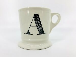 Anthropologie-A-Monogram-Coffee-Cup-Mug-Shaving-Letters-Black-White