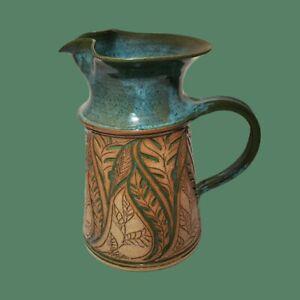 Susan-Brown-Freeman-Incised-Leaf-Design-10-034-Water-Pitcher-Alabama-Studio-Pottery