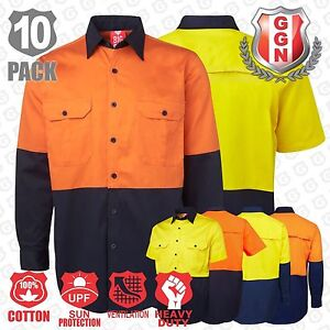 10x-HI-VIS-SHIRTS-SAFETY-COTTON-DRILL-WORKWEAR-ARM-BACK-VENTS-LONG-SHORT-Sleeve