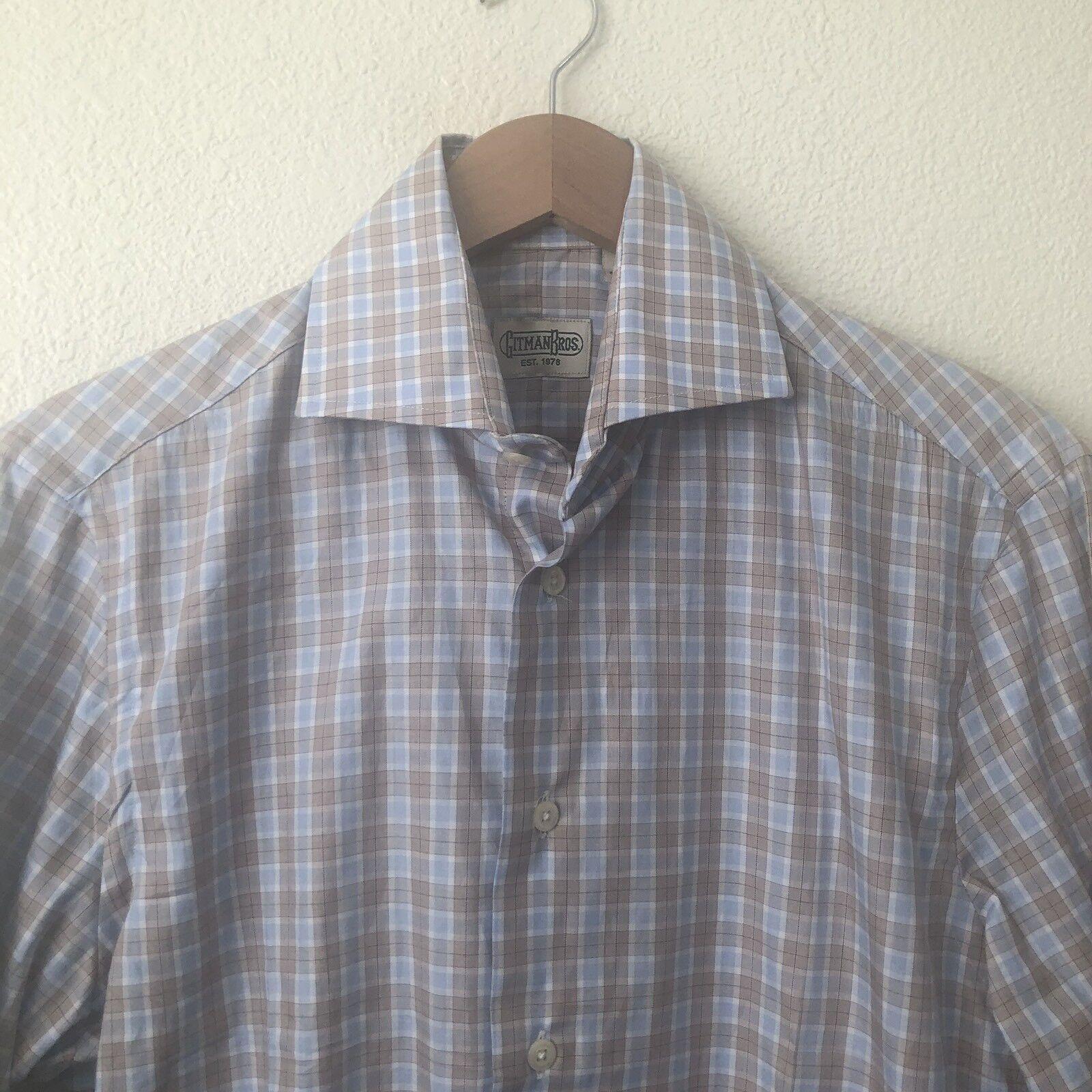 Gitman Bros bluee Brown Sport Button Down Long Sleeve Shirt Size S