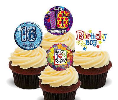 Tremendous 16Th Birthday Boy Edible Cupcake Toppers Stand Up Fairy Cake Funny Birthday Cards Online Benoljebrpdamsfinfo