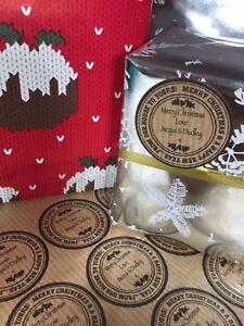 Regalo-di-Natale-Etichette-Adesivi-Personalizzati-presenti-fatto-a-mano-vicino-Regalo-Etichetta