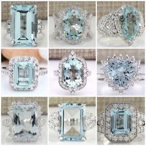 Fashion-925-Sterling-Silver-Aquamarine-Gem-Wedding-Rings-Jewelry-Gift-Size-6-10
