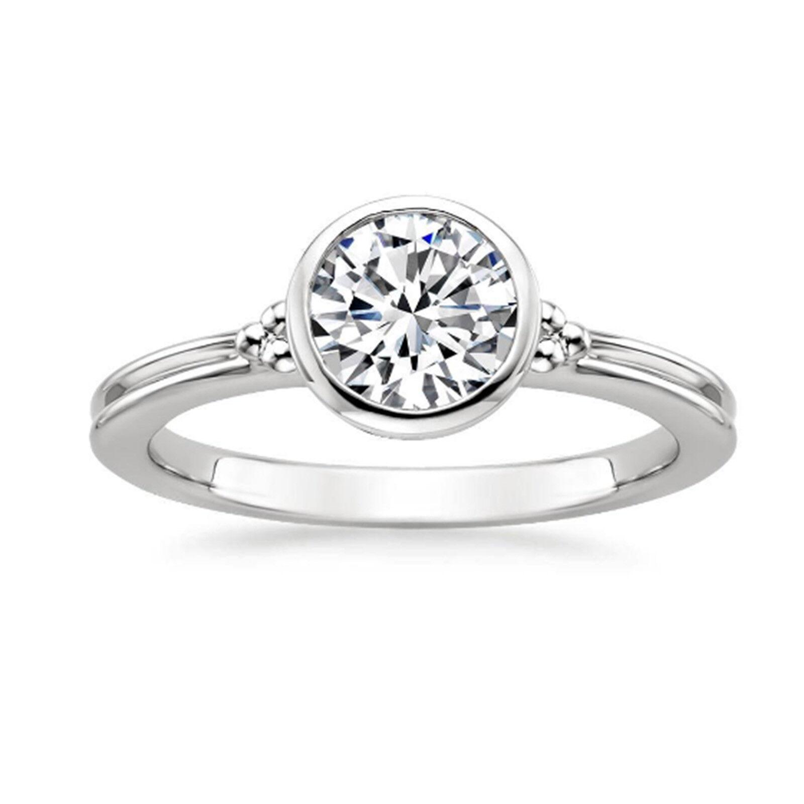 1.00 Ct Round Cut Moissanite Engagement Wedding Ring 14K White gold Size 6 7