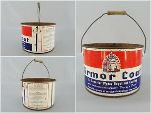 1950s-Vintage-Armor-Coat-25lb-Paint-Can-USS-Steel-Red-White-amp-Blue-Bucket-1954