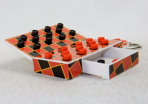 Magnetic Pieces Pocket Game Checkers on Key Chain Travel Activity ~ #G102