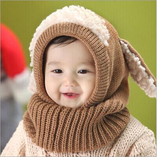 Winter Baby Kids Girls Boys Cute Ears Woolen Warm Coif Hood Scarf Caps Hats US