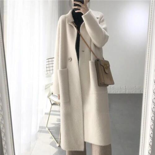 fourrure de femmes fausse de cachemire pour vison cardigan fausse veste Manteau long de qxFTt7Y