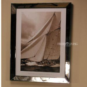 Spiegelrahmen-Segelyacht-Segelschiff-Maritim-Sylt-Wandbild-Sepia-Fotografie-Deko