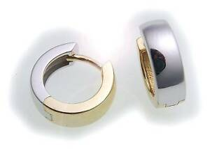 Damen-Ohrringe-Klapp-Creolen-Bicolor-Gold-750-18-karat-Glanz-11-mm-Gelbgold-Neu