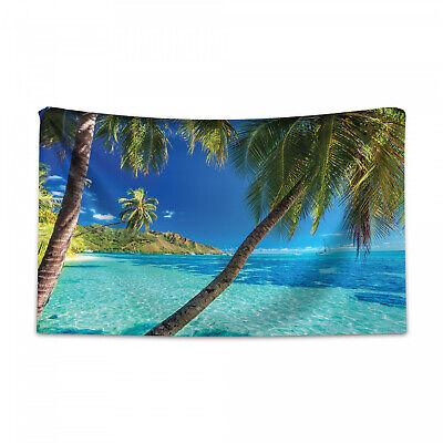 tropisch wandteppich und tagesdecke, palmen, meer, strand