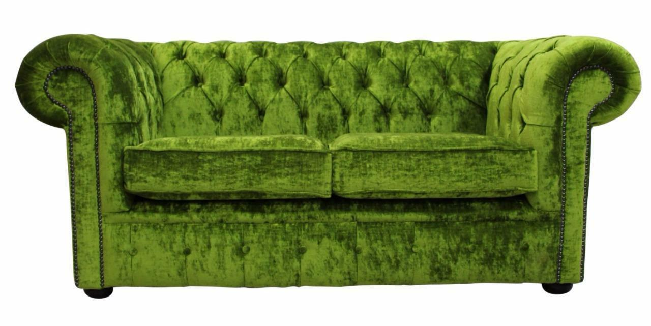 Details about Chesterfield 2 Seater Modena Pistachio Green Velvet Fabric  Sofa Settee Couch
