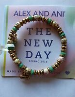Alex And Ani Day Floral Pasture Bangle Bracelet Pasture Gold New/tags Box
