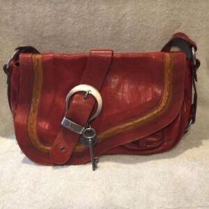 7d35f2d16d7 Image is loading Christian-Dior-Gaucho-Saddle-Handbag-Burgundy-Leather