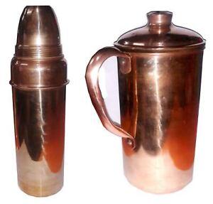 SET of 2 Pcs Indian 100% Pure Copper Water Bottle + Jug Natural Benefits Health