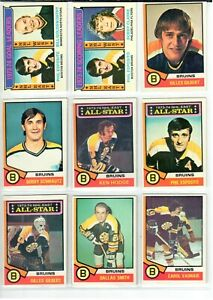 1974-75 Topps - BOSTON BRUINS - Team Cards LOT of 35 Cards ... Bruins Roster 1974
