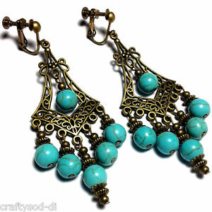 Turquoise-Bronze-Earrings-Gemstone-Drop-Dangle-Antique-Vintage-Style-Clip-On