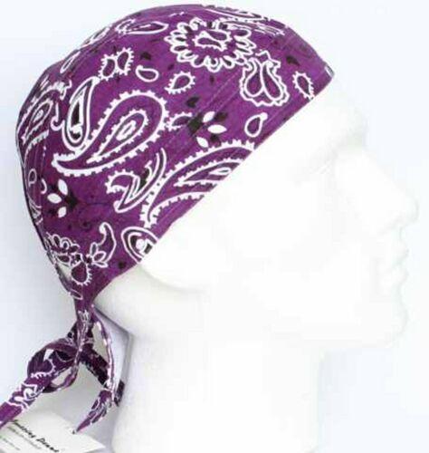 Drap Housse Bandana Coton Foulard DURAG Tie Fit Col Rabat Violet Noir Paisley