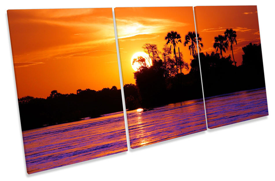 Sunset Jungle Tropical TREBLE CANVAS WALL WALL WALL ART Picture Print 69db29