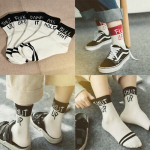 Fashion-Men-Women-Letter-Print-Cotton-Socks-Design-Funny-Cool-Sport-Casual-Sock
