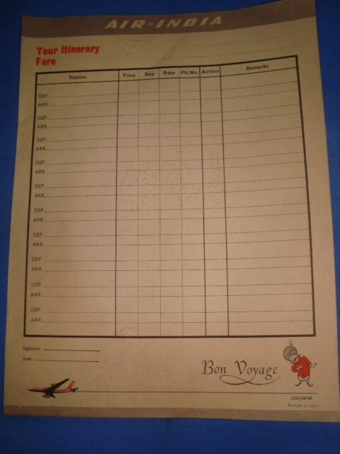 Old vintage Air India Air Lines Co. paper Itinerary Fare ...
