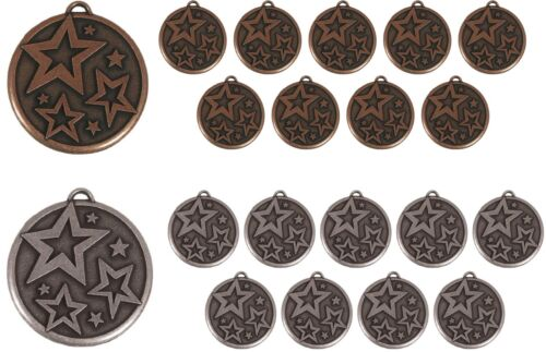 PACK OF 20 STAR DANCE METAL ANTIQUE GOLD & SILVER MEDALS FREE RIBBON SS AM443