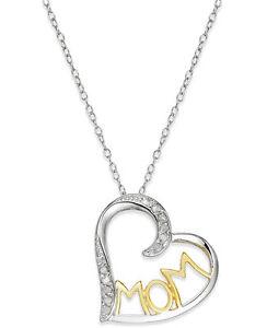 3c1e4d020c9 MACYS Diamond Two-Tone Mom Heart Pendant 18k Gold over Sterling ...