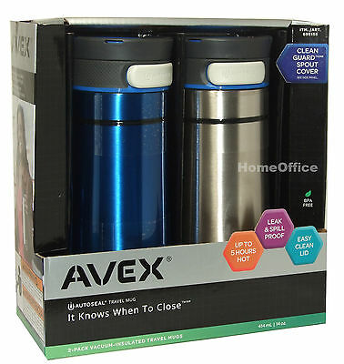 2 Avex Travel Flasks Vacuum-insulated Autoseal Lock Contigo Stainless Steel B/S