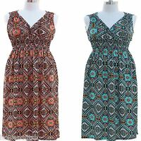 NWT JON & ANNA Aztec Print V-Neck Smocked Long Maxi Summer Dress 1,2,3X Womens