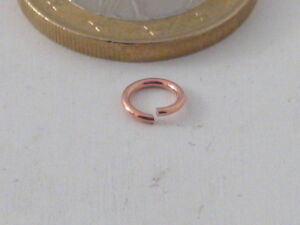 12 ANNEAUX OUVERTS PAR MM 4 IN ARGENTO 925 PLAQUÉ OR ROSES' MADE IN ITALY
