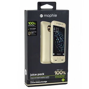 New-Genuine-Mophie-Samsung-Galaxy-S6-Edge-100-Battery-Charger-Case-Cover-Gold