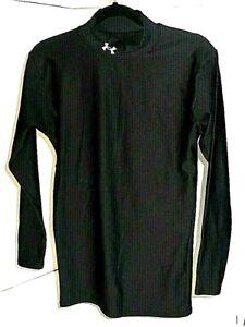Under-Armour-Cold-Gear-Black-Compression-L-S-Shirt-Mock-Neck-Boy-039-s-Large-GC