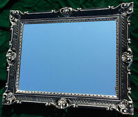 Wandspiegel Barock Großer Spiegel Schwarz-Silber hochglanz 90x70 rahmen Antik