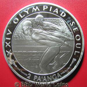 1988 TONGA 2 PAANGA 5oz SILVER PROOF SWIMMERS SEOUL OLYMPIC BIG HEAVY 65mm 155gr