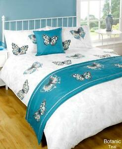 5pc botanic butterfly teal super king size bed in a bag duvet cover bedding set 5060352131086 ebay. Black Bedroom Furniture Sets. Home Design Ideas
